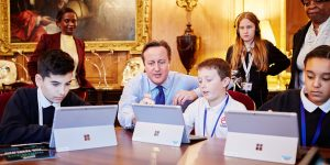 Prime Minister David Cameron joins a class from Eastlea Community School in East London at Downing Street, as they took part in completing an hour-long Minecraft coding tutorial during 'Hour of Code' week, London.Michael Bowles/REX Features