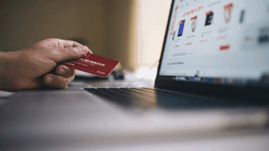 Man gambling using credit card
